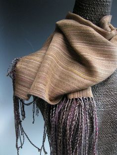 Black And White Striped Stole  Wool And Silk Blend Handloom Stole Handwoven Wool Silk Stole  Wool Silk Shawl Gift For Her Natural Brown