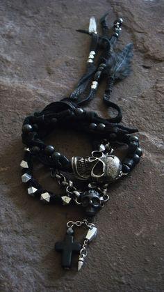 Skull Bracelet Gothic Mens Skull Bracelet Punk by ShopSparrow, $42.99