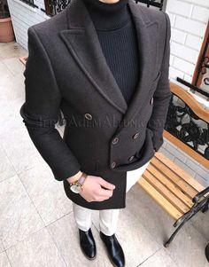 daab03f02848f İtalyan kesim kruvaze erkek kaşmir kaşe kısa palto kaban T1838 Palto ,  Kaban Terziademaltun DAVİD