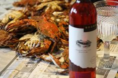 Steamed crabs and Boordy wine ~  yummmmy