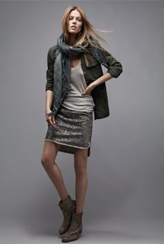 Zadig & Voltaire AW 2013 casual weekend wear. glitter. skirt. jacket. boots.
