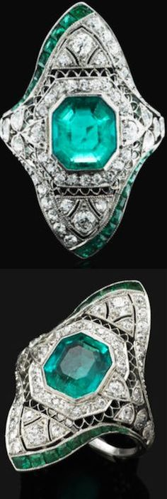A Belle Epoque emerald and diamond ring