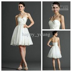 Wholesale Sexy Design Fashion Style 2013 Knee Length Ivory Organza Short Wedding Dresses Beach Bridal Gown, Free shipping, $134.4-168.0/Piece | DHgate