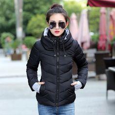 2016冬ジャケット女性プラスサイズレディースパーカー厚みの上着ソリッドフード付きコートショート女性スリム綿パッド入り基本トップス