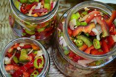 Salata de ardei iuti - CAIETUL CU RETETE Ratatouille, Pickles, Cucumber, Food And Drink, Drinks, Desserts, Canning, Salads, Drinking