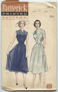 1950's Butterick 5676 Misses' Button-Front One-piece Dress Short Sleeve or Sleeveless Bust 34