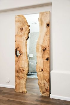 Maple Live Edge Mirror - we created this custom commissioned natural edge Maple mirror-river piece for our client in the DC Ranch/Scottsdale Area. This is staged just past their front door and is sure to impress guests.
