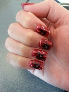 My nails, flowery design