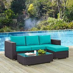 Modway Furniture Convene 3 Piece Outdoor Patio Sofa Set in Espresso Turquoise Modern Furniture, Outdoor Furniture, Outdoor Decor, Metal Furniture, Garden Furniture, Furniture Sets, Furniture Design, 3 Piece Sofa, Coffee Table Dimensions