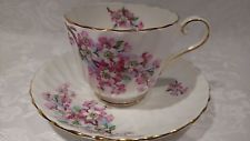 Beautiful Aynsley Pink & White Flowers Tea Cup & Saucer 1853