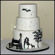 Black and white silhouette engagement cake - With ruffles, butterflies and ' On bended knee' cake topper.