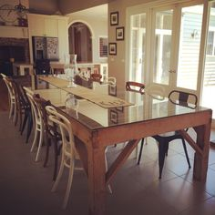 Designing and building our off-grid home Dining Table Design, Dining Room Table, Cool Furniture, Furniture Design, Furniture Ideas, Shed Homes, Furniture Restoration, Home Kitchens, Sweet Home