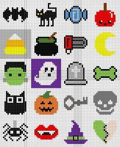 Halloween Blanket Part 3 - Raveled Stitch Art Halloween, Halloween Beads, Halloween Crochet, Halloween Patterns, Melty Bead Patterns, Pearler Bead Patterns, Perler Patterns, Beading Patterns, Mini Cross Stitch