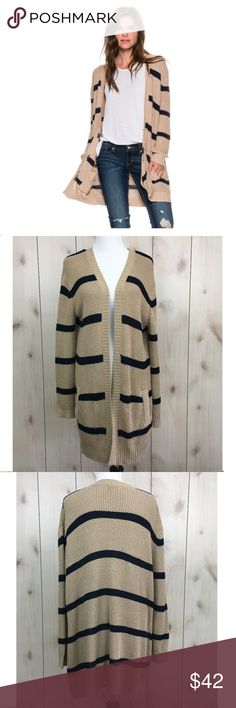 "BB Dakota Augustana Striped Oversized Cardigan BB Dakota Augustana open front oversized cardigan sweater. Navy and tan striped with hand pockets. Size small. Style BG36032. Pre-owned condition - pull on the inside which creates a slight ridge on the outside of the back (see pictures) - no stains or holes.  Nonsmoking and pet free home. No trades.   60% Cotton, 40% Acrylic Hand wash - see pictures  Measurements laying flat (approximate): Bust: 23"" underarm to underarm Sleeve: 24"" Length: 32""…"