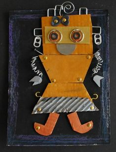 Cardboard Robots. Recycled art. Soda can tabs, nails, wires,