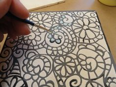 3. how to use crafter's workshop stencils on pottery - paint in detail colors over white