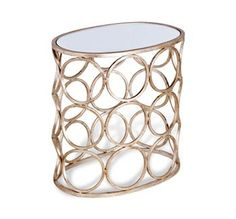 Brigit Modern Antique Silver Leaf Champagne Finish Circle Side Table