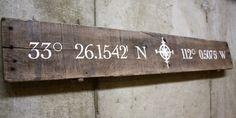 Wood Pallet Slat Sign  custom latitude by GlampAndGritDesign