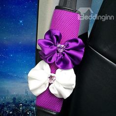 Magic Purple With Two Beautiful Flower #Seat #Belt #Covers