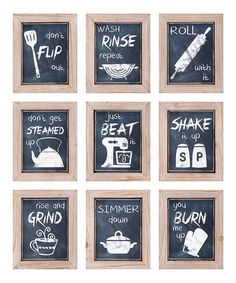 Another great find on #zulily! Kitchen Inspirations Wall Art - Set of Nine…
