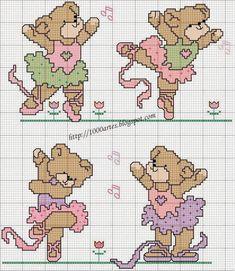 ponto cruz graficos de ursinhos dançando - Pesquisa Google