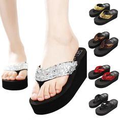d6e9bb56e Sequins Beach Slippers Flip Flops Sandals Casual. Fashion OutfitsWomens ...