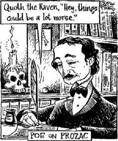 """Edgar Allan Poe's """"The Raven"""" via Dan Piraro Bizarro Comics"""
