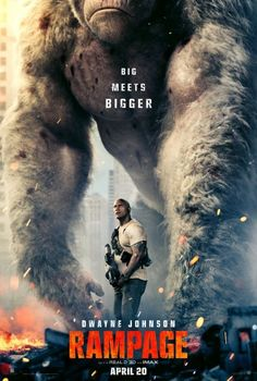 "RAMPAGE - ONLINE FILMS: ""Primatologist Davis (Dwayne Johnson) shares an unshakable bond with George, the extraordinarily intelligent silverback gorilla who has been in his care since he was young. When a greed-fueled corporation Dwayne Johnson, Rock Johnson, Films Hd, Imdb Movies, 2018 Movies, Action Movie Poster, Action Movies, Movie Posters, Rampage Movie"