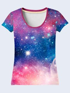 Outer Space Ladies Top Purple T Shirt Galaxy by NewVelikan on Etsy