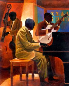 Your Source for Fine Black Art Prints and Posters by African American Artists, other Ethnic and Decorative Prints and and Posters at Everyday Discount Prices. Arte Jazz, Jazz Art, Jazz Music, African American Artist, American Artists, Art And Illustration, Jazz Painting, Black Art Painting, Art Amour