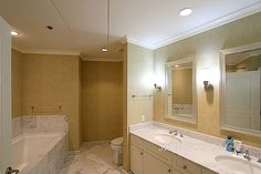Great look with crown molding and white marble