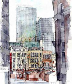 Albert Square, Manchester an architectura lwatercolour by Simone Ridyard