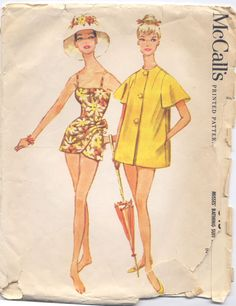 McCall's 5455  http://wearinghistoryblog.com/2010/07/a-sarong-bathing-suit-circa-1960/