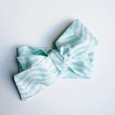 Mint and White Organic Cotton Double Headwrap / Infant Headwrap / Baby Headwrap / Toddler Headwrap