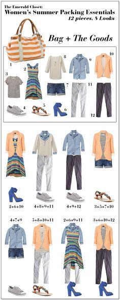 Women's Summer Packing Essential - 12 pieces, 8 looks | Emerald Closet