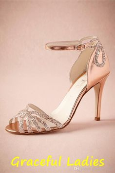 Rose Gold Glittered Heel Wedding Shoes Pumps Sandals Gold Leather Buckle Closure Glitter Party Dance 3.5 High Wrapped Heels Women Sandals Online with $82.57/Pair on Wsztz272's Store | DHgate.com