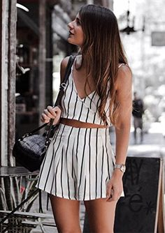 f34c8e63be7c MakeMeChic Women s 2 Piece Outfit Summer Striped V Neck Crop Cami Top With  Shorts White Outfits