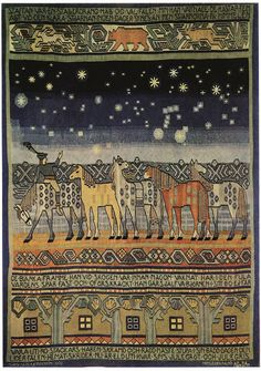 Märta Måås-Fjetterström tapestry design, 'staffan stalledrang,' produced in An early design, well before she set up a weaving studio in Bastad Sweden in She died in but her studio (in Båstad, Sweden) continues in operation today. Art Textile, Textile Design, Tapestry Design, Textiles, Floor Cloth, Tapestry Weaving, Rug Hooking, Fabric Art, Fiber Art