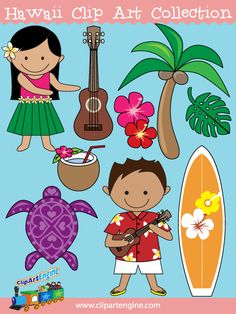 TpT freebie=This collection includes a set of 10 royalty-free clip art graphics. It comes with black and white line art files of each Hawaiian design. Hawaiian Boys, Hawaiian Crafts, Hawaiian Theme, Hawaiian Ukulele, Digital Paper Freebie, Hawaiian Designs, Hula Girl, Topper, Art File