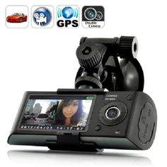 Dual Camera Car Blackbox DVR with GPS Logger and G-Sensor Rideshare Camera Video