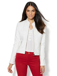 Shop Seamed Faux-Leather Moto Jacket - White . Find your perfect size online at the best price at New York & Company.