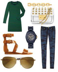 MICHAEL Michael Kors  Striped Knit Dress, Tie-Dye kinny Jeans, Josephine Sandal, Classic Aviator Sunglasses, Anchor Link Bracelet, Oversize Watch, & Small Sloan Bag.