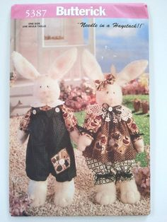 Butterick 5387 Baby Bunnykins Stuffed Bunnies Needle by BusyB213, $5.95