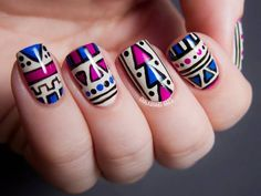 tribal nail art, aztec nail art purple, blue, polish, creative, cream, manicure