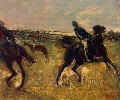 Jockeys, 1895 by Edgar Degas. Impressionism. genre painting. Private Collection