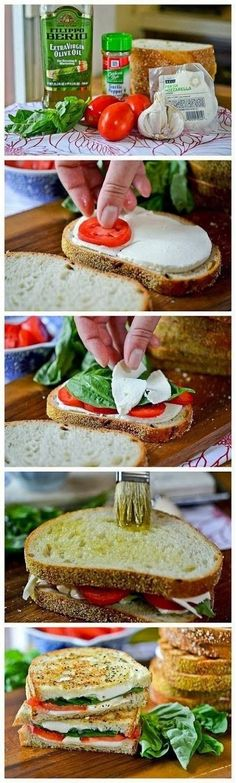foodholic: Grilled Margherita Sandwiches - Grilled Margherita Sandwiches. These are so, so good and really simple sandwiches to make!