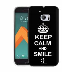 HTC 10 KEEP CALM and Smile on Black Slim Case