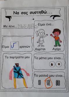 """Στη θεματική ενότητα""""Σας παρουσιάζω τον εαυτό μου, γνωρίζω τον εαυτό μου"""", ξεκινήσαμε με το βιβλίο """" Μου μοιάζεις και σου μοιάζω"""" της... My Boys, Self, Education, Comics, School, Blog, Crafts, Manualidades, Schools"""