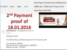 "AdClickXpress is very powerful and simple to earn ""I am getting paid daily at ACX and here is proof of my latest withdrawal. This is not a scam and I love making money online with Ad Click Xpress."" To join with ACX click the below link - http://www.adclickxpress.is/?r=74nzw87tf8m&p=mx call 7735735441 SUDHA"