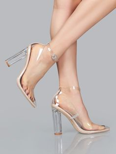 c104d9a0a08 Perspex High Heel Clear Pumps Pointed Toe Adjustable Ankle Strap Women s  Shoes  CapeRobbin  PumpsClassics